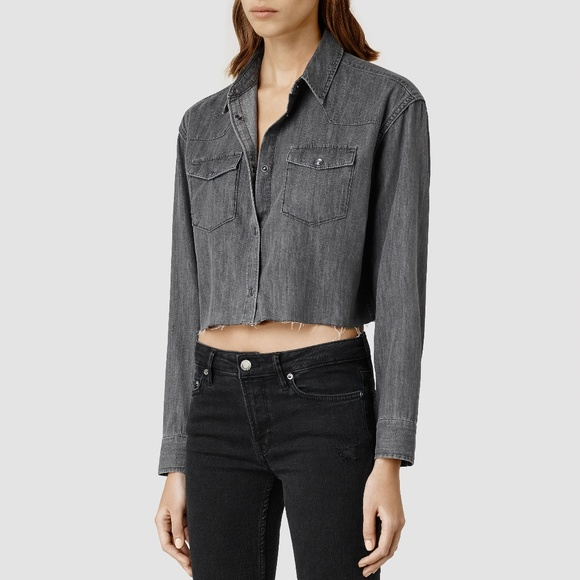 f6578ae5de HP All Saints Denim Cropped Cannon Shirt in Grey